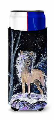 Starry Night Chinese Crested Ultra Beverage Insulators for slim cans