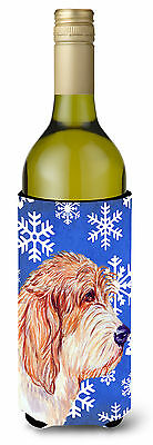 Petit Basset Griffon Vendeen Winter  Holiday Wine Bottle Beverage Insulator Beve