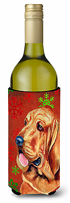 Bloodhound Red and Green Snowflakes Holiday Christmas Wine Bottle Beverage Insul
