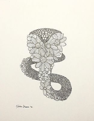 Cobra Flowers - Original Drawing - Ink Snake Plants Wildlife Nature Art