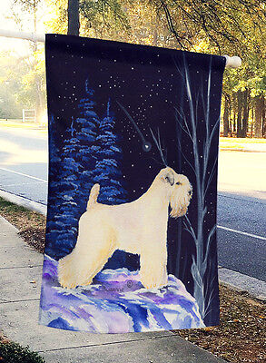 Starry Night Wheaten Terrier Soft Coated Flag Canvas House Size