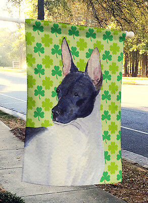 Rat Terrier St. Patrick's Day Shamrock Portrait Flag Canvas House Size
