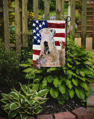 USA American Flag with Wheaten Terrier Soft Coated Flag Garden Size