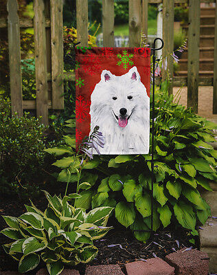 American Eskimo Red and Green Snowflakes Holiday Christmas Flag Garden Size
