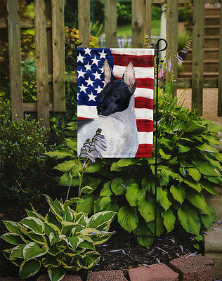 Carolines Treasures  SS4054GF USA American Flag with Rat Terrier Flag Garden Siz