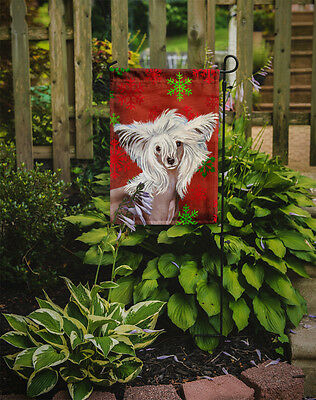 Chinese Crested Red and Green Snowflakes Holiday Christmas Flag Garden Size