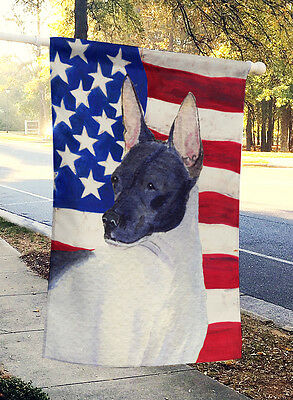 Carolines Treasures  SS4054CHF USA American Flag with Rat Terrier Flag Canvas Ho