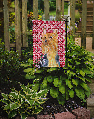 Silky Terrier Hearts Love and Valentine's Day Portrait Flag Garden Size