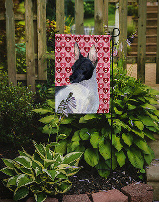 Rat Terrier Hearts Love and Valentine's Day Portrait Flag Garden Size