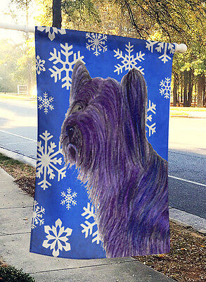 Skye Terrier Winter Snowflakes Holiday Flag Canvas House Size