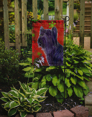Skye Terrier Red Green Snowflake Holiday Christmas Flag Garden Size