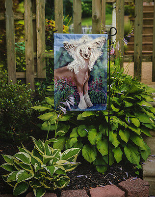 Carolines Treasures  7052GF Chinese Crested in flowers  Flag Garden Size