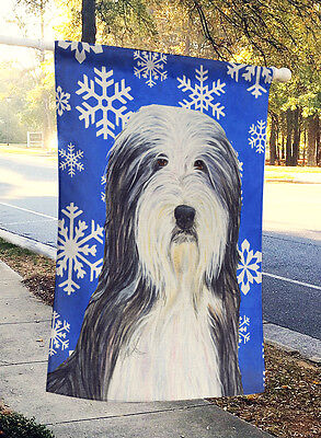 Bearded Collie Winter Snowflakes Holiday Flag Canvas House Size