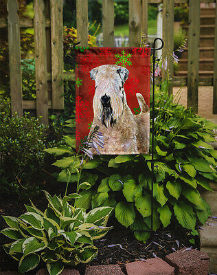 Wheaten Terrier Soft Coated Red Snowflakes Holiday Christmas Flag Garden Size