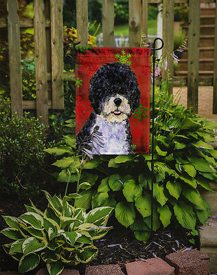 Portuguese Water Dog Red Green Snowflake Christmas Flag Garden Size