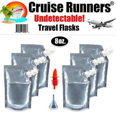 Cruise Flask Kit 7pc Runners Rum Alcohol Liquor Smuggle Booze Ship Plastic Wine
