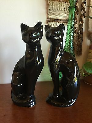 Gorgeous Large Ceramic Black Cats Siamese Mid Century Kitsch