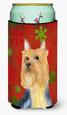 Silky Terrier Red Green Snowflake Holiday Christmas  Tall Boy Beverage Insulator