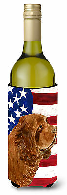 USA American Flag with Sussex Spaniel Wine Bottle Beverage Insulator Beverage In