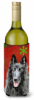 Belgian Sheepdog  Snowflakes Holiday Christmas Wine Bottle Beverage Insulator Be