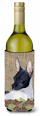 Rat Terrier on Faux Burlap with Pine Cones Wine Bottle Beverage Insulator Bevera