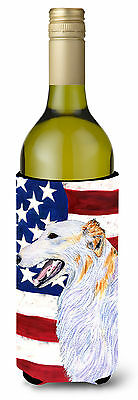 USA American Flag with Borzoi Wine Bottle Beverage Insulator Beverage Insulator