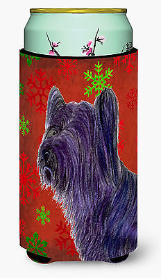 Skye Terrier Red Green Snowflake Holiday Christmas  Tall Boy Beverage Insulator