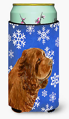 Sussex Spaniel Winter Snowflakes Holiday  Tall Boy Beverage Insulator Beverage I