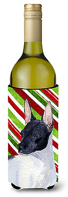 Rat Terrier Candy Cane Holiday Christmas Wine Bottle Beverage Insulator Beverage