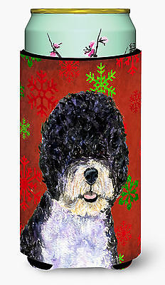 Portuguese Water Dog Red Green Snowflake Christmas  Tall Boy Beverage Insulator