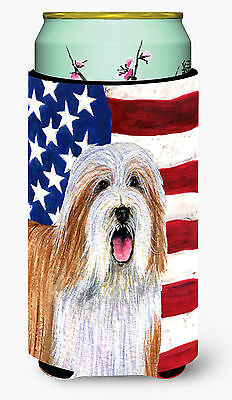 USA American Flag with Bearded Collie  Tall Boy Beverage Insulator Beverage Insu