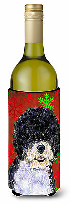 Portuguese Water Dog Red Green Snowflake Christmas Wine Bottle Beverage Insulato