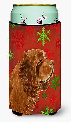 Sussex Spaniel Red Green Snowflake Holiday Christmas  Tall Boy Beverage Insulato