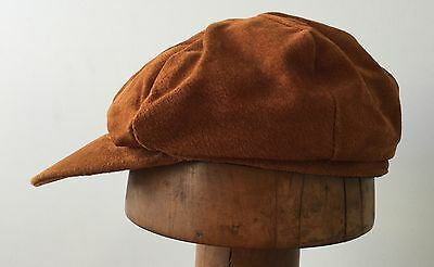 Jacaru  baker boy leather cap SPECIAL  59 cm Large  rust fully lined Oz made