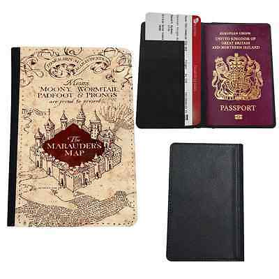 Marauders Map Harry Potter Faux Leather Passport Holder Travel Cover Case