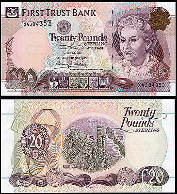 NORTHERN IRELAND 20 POUNDS (P137a) FIRST TRUST BANK 1998 UNC