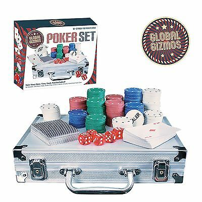 Texas Hold'Em 200pc Poker Chip Set 2 Decks Playing Cards 5 Dice Aluminium Case