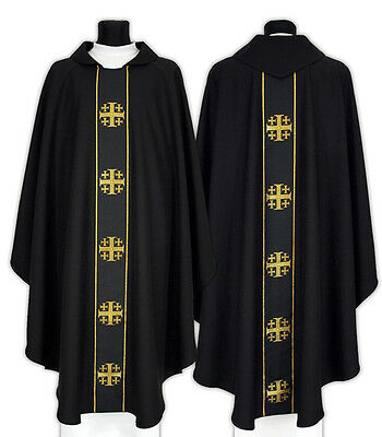 Black Gothic Chasuble Jerusalem crosses with matching stole 103-CZ us