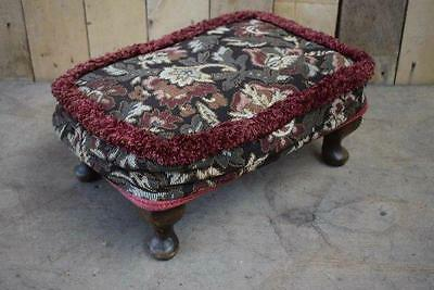 Retro Vintage Low Floral Queen Anne Footstool - Upcycle?