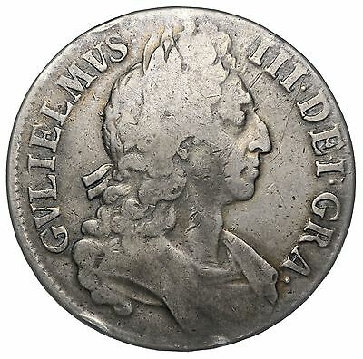 1696 Crown - William Iii British Silver Coin - Nice