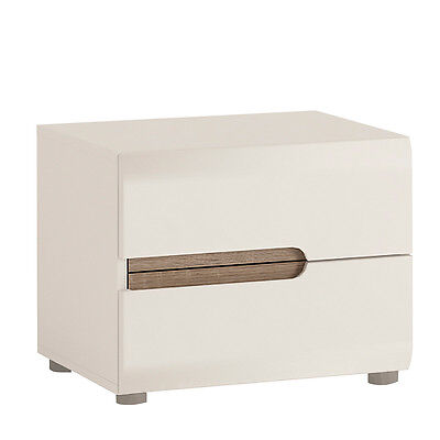 Bedroom 2 Drawer Bedside Cabinet in White Gloss With an Truffle Oak Trim