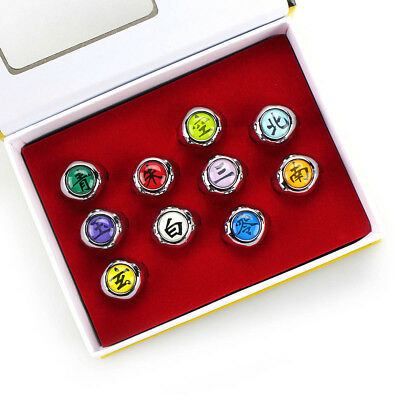 Naruto Anime Cosplay Akatsuki Member's Ring 10pcs New Set Collections In Box
