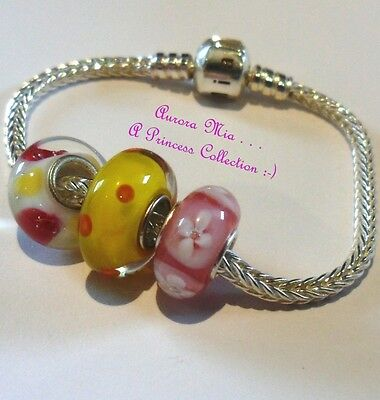 """Polka Dots and Flowers Pink and Yellow STERLING SILVER EUROPEAN BRACELET 6"""""""