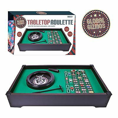 Complete Gambling Layout Table Top Roulette Home Casino Game Wheel Set Chip Rake