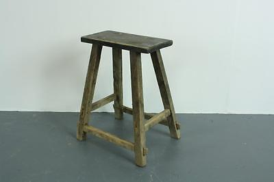 VINTAGE RUSTIC ANTIQUE WOODEN STOOL MILKING EXTRA LARGE No L136