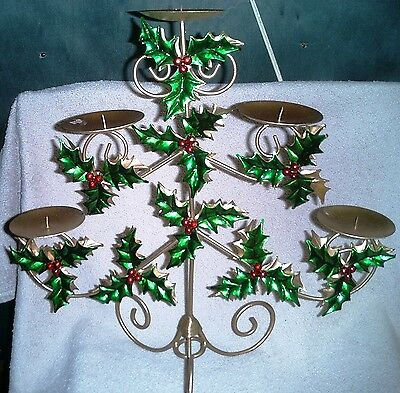 Brass Christmas Candelabra with Painted Tin Holly Leaves