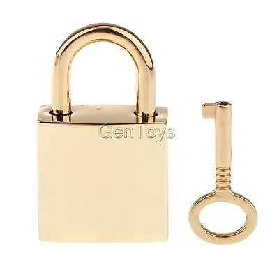 1Pc Mini Square Padlocks Travel Luggage Jewelry Box Lock w/ Key Light Golden