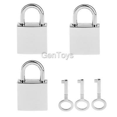 Lot of 3 Mini Square Padlock Travel Suitcase Jewelry Box Lock w/ Keys Silver