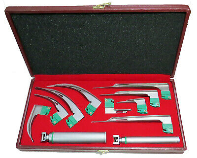 Laryngoscope 9 Blades Mac Miller + 2 Handle Standard Pinlight 4 Extra Bulb + Box