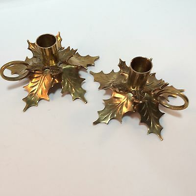 Brass Candle Holder Pair Leaf Nature Holly leaves Holiday Taper w/ Handles VTG